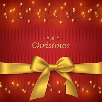 Sfondo natalizio a maglia con fiocco dorato e ghirlanda, testo glitterato. elementi decorativi per lo sfondo delle vacanze di natale. illustrazione vettoriale.