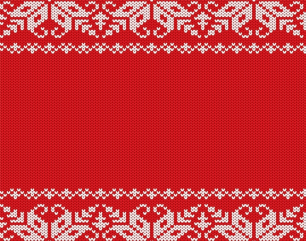 Christmas knitted floral geometric ornament with empty space for text