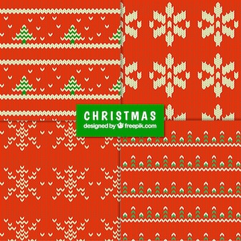 Christmas knitted red patterns