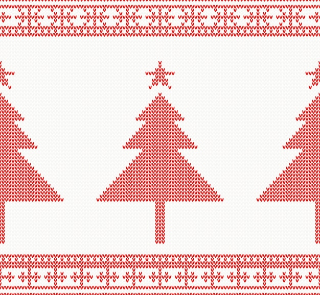 Christmas knitted seamless background with tree.