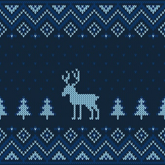 Christmas knitted seamless pattern.