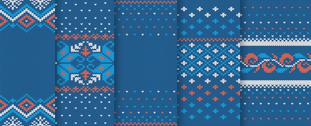 Christmas knitted texture. seamless pattern. set of knit blue xmas prints. holiday wool background.
