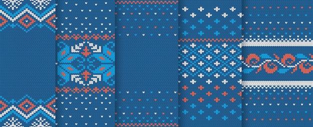 クリスマスニットの質感。シームレスパターン。ニットブルーのクリスマスプリントのセット。休日のウールの背景。