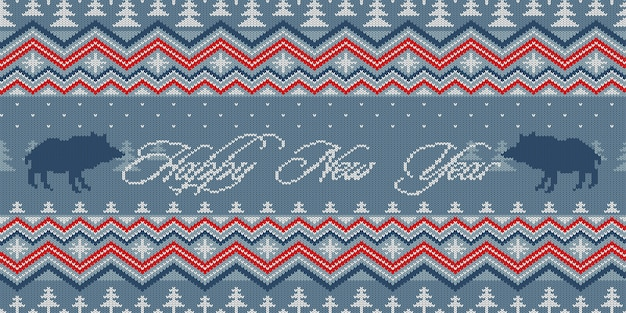 Christmas knitted woolen seamless pattern with wild boars