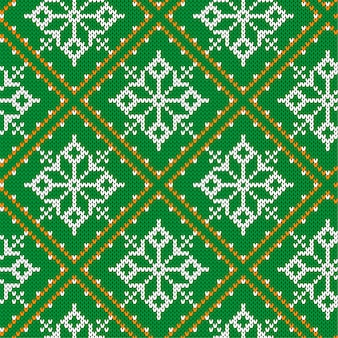Christmas knitting seamless pattern with snowflakes. knitted green sweater design. traditional knitted ornamental pattern