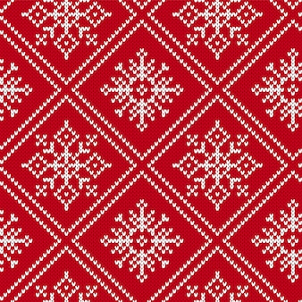 Christmas knitting seamless pattern with snowflakes
