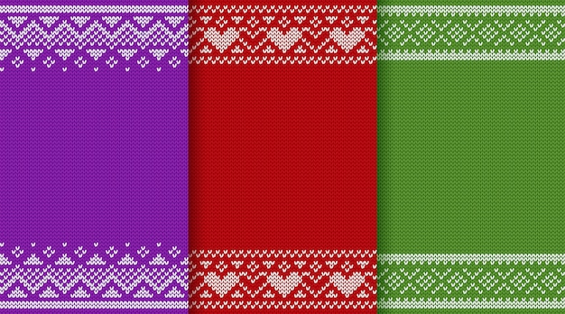 Christmas knitting texture pattern set