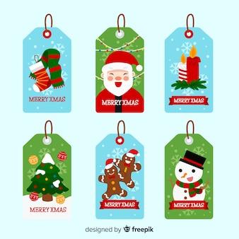 Рождественская коллекция этикеток и значков