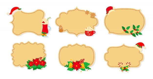 Рождественские этикетки и метки плоский набор. мультфильм праздник коллекции бежевый рождественские патч этикетки. новогодние ярлыки украшены предметами, падуб омела, конфетная шапочка. новогодняя коллекция. иллюстрация