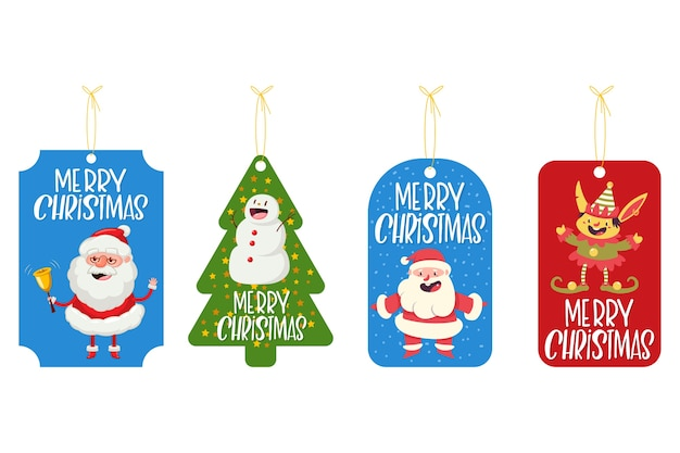 Christmas label, badge, tag with funny characters cartoon set isolated on a white background.