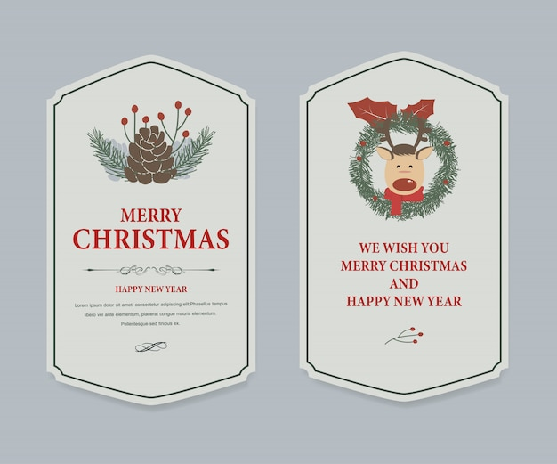 Christmas label and christmas banner vintage .