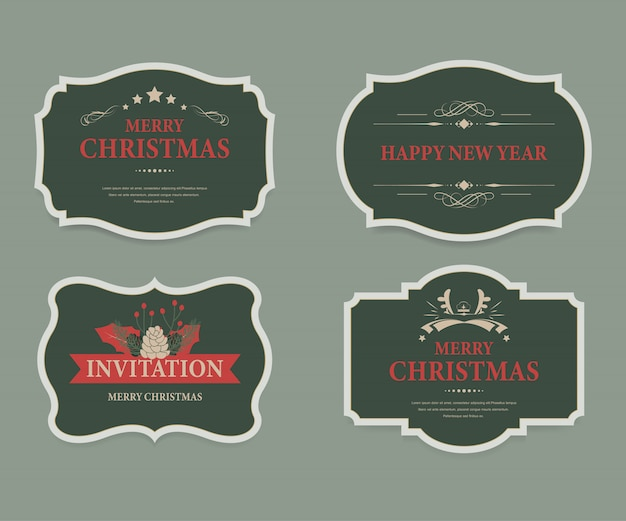 Christmas label and christmas banner vintage .