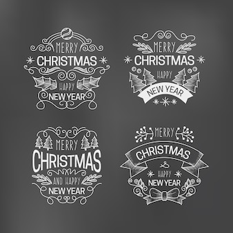 Christmas label collection on blackboard