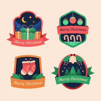 Christmas label collection in flat design