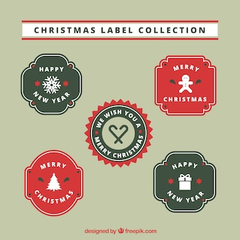 Christmas label collection of four