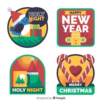 평면 디자인의 크리스마스 라벨 컬렉션