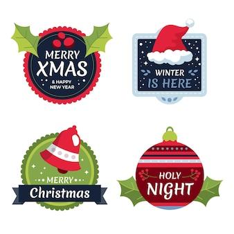 Рождественская коллекция этикеток в плоском дизайне
