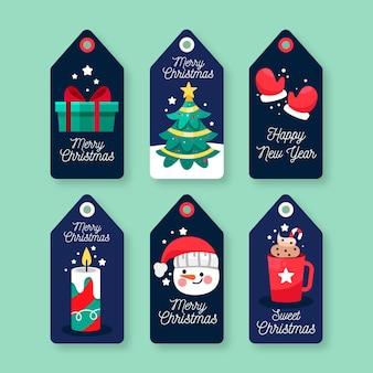 평면 디자인에 크리스마스 라벨 컬렉션