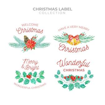 水彩スタイルのクリスマスラベルコレクション