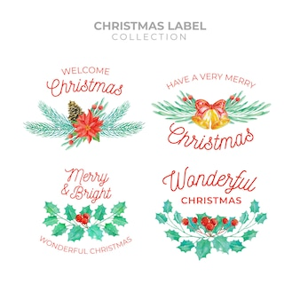 Christmas label collection in watercolor style