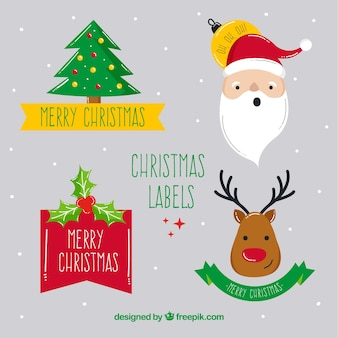 Christmas label collection with fun style