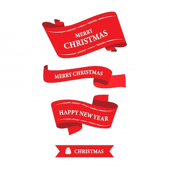 Christmas label and happy new year ribbon banner tag.