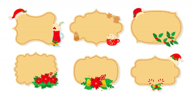 Christmas label and tag flat set. cartoon holiday collection beige christmas patch labels. christmas tags decorated objects, holly mistletoe, candy hat. new year collection. illustration