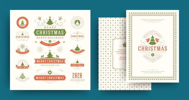 クリスマスのラベルとバッジのデザイン要素は、グリーティングカードと新年あけましておめでとうございます