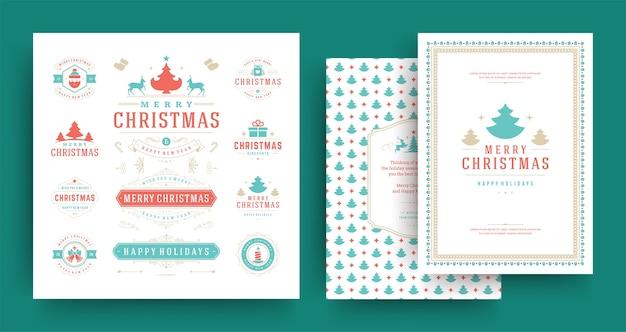 グリーティングカードテンプレートで設定されたクリスマスのラベルとバッジのデザイン要素