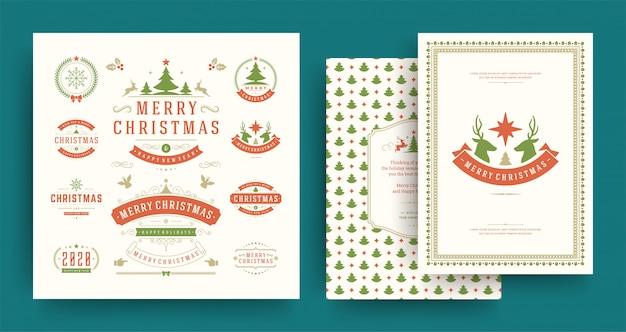 Рождественские ярлыки и значки элементов набора с шаблоном поздравительной открытки.