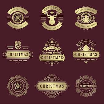 Рождественские этикетки и значки векторный набор элементов дизайна
