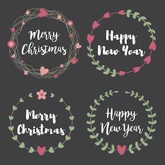 Рождественские этикетки и значки