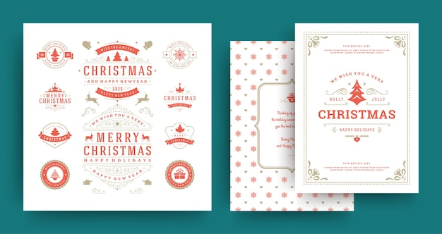 Christmas labels and badges design elements set with greeting card and happy new year wishes
