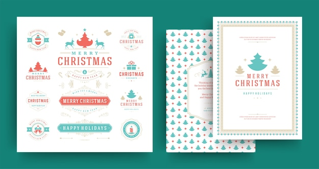 Christmas labels and badges design elements set with greeting card template
