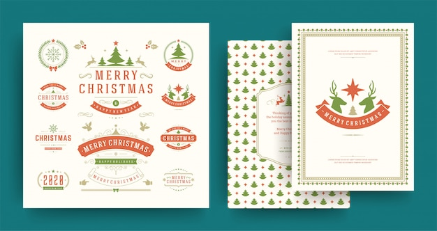 Christmas labels and badges elements set with greeting card template.
