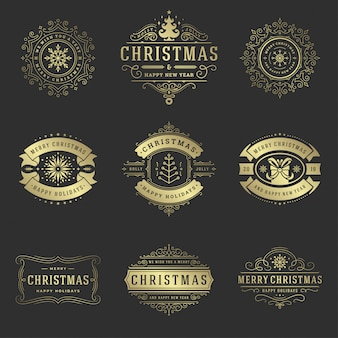 Christmas labels and badges elements set.