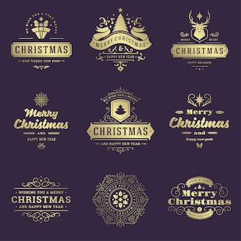 Christmas labels and badges set