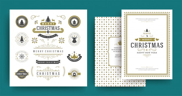 Christmas labels and badges vector design elements set with greeting card template.