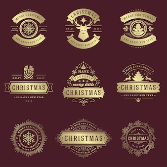 Christmas labels and badges vector design elements set