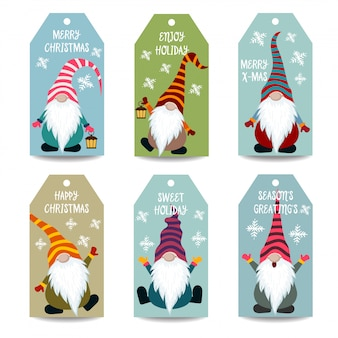 Christmas labels collection with gnomes