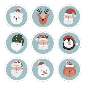 雪だるま、ノーム、サンタ、森の動物のクリスマスラベルコレクション。印刷可能なカードテンプレート。