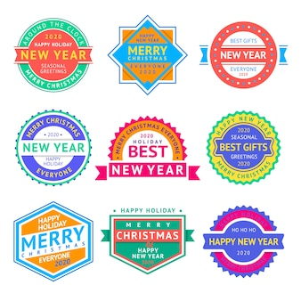 Christmas labels and new year badges set