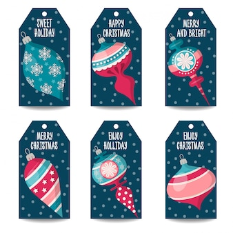 Christmas labels or price tag collection with christmas balls