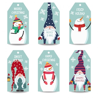 Christmas labels or tags collection with snowman and gnomes isolated