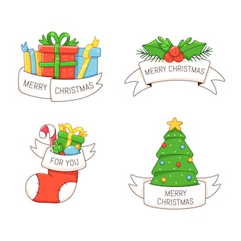 Christmas labels with winter holiday symbols gift tag with ribbon and title