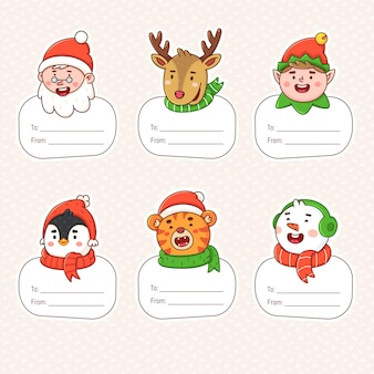 Christmas labels with winter holiday symbols gift tags for new year decoration
