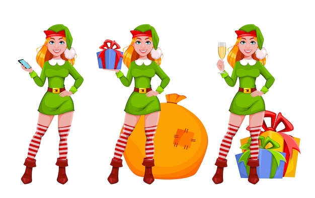 Christmas lady elf cartoon character, set of three poses