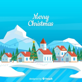 Christmas lake town background