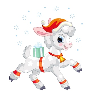 Christmas lamb with gifts vector