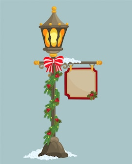 Christmas lamppost and banner